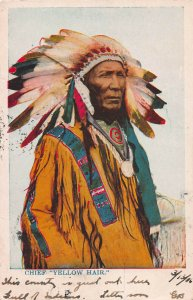 Chief Yellow Hair, Early Postcard, Undivided Back, Used in 1906