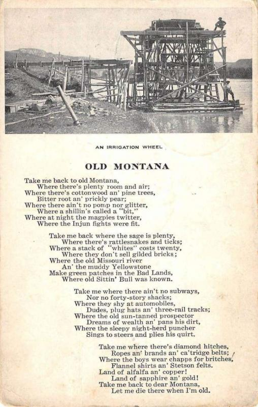 Montana Old Irrigation Wheel Poem Antique Postcard K92672
