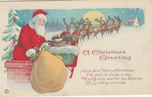 CHRISTMAS, 1919; Santa Claus climbing down chimney with bag of toys, Poem