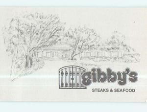 Unused Linen-Like GIBBY'S STEAKS & SEAFOOD RESTAURANT Ft. Lauderdale FL p7719