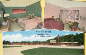 Meridian Mississippi~Virginia Court~Roadside Motel~Inside & Out~Guest Rooms~1950