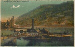 Postcard Germany Mauseturm und ruine ehrenfels bridge river boat engineering