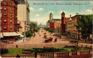 VTG Pennsylvania Ave from Treasury Building Street View Washington DC Postcard