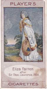 Cigarette Cards Player's BYGONE BEAUTIES No 22 ELIZA FARREN 1914