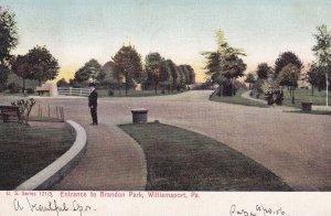 WILLIAMSPORT, Pennsylvania, PU-1906; Entrance To Brandon Park