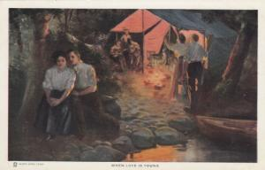 A. Dewey: When Love is Young Couple in  Woods Away from Campsite, 1900-10s