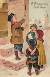 NEW YEAR, 1900-10s; Children singing outside a home,  PFB 9623