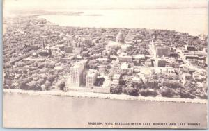 Madison, Wisconsin Postcard Aerial View w/ Lake & State Capitol  Conoco c1950s