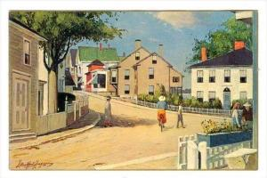 Painting by J. Bradford Hague, Scene On  Dock Square , Rockport, Massachusett...