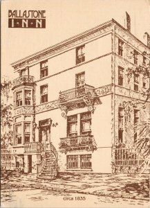 Ballastone Inn Savannah GA Georgia Vintage Postcard C3