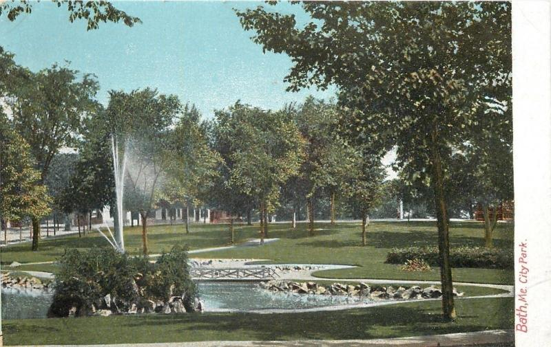 Bath Maine~City Park~Fountain Spray Pond~1906 Postcard