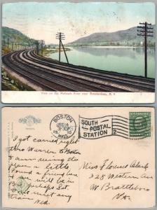 AMSTERDAM N.Y. VIEW ON MOHAWK RIVER 1910 ANTIQUE POSTCARD railroad railway