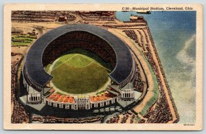 Cleveland Ohio~Municipal Baseball Stadium~Big League~I Looked It over~1952 Linen