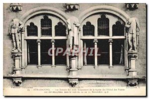 Old Postcard Strasbourg statues of three emperors of the front of the hotel p...