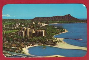 HAWAII, AERIAL VIEW OF WAIKIKI 1964  3.5 X 5.5 SEE SCAN