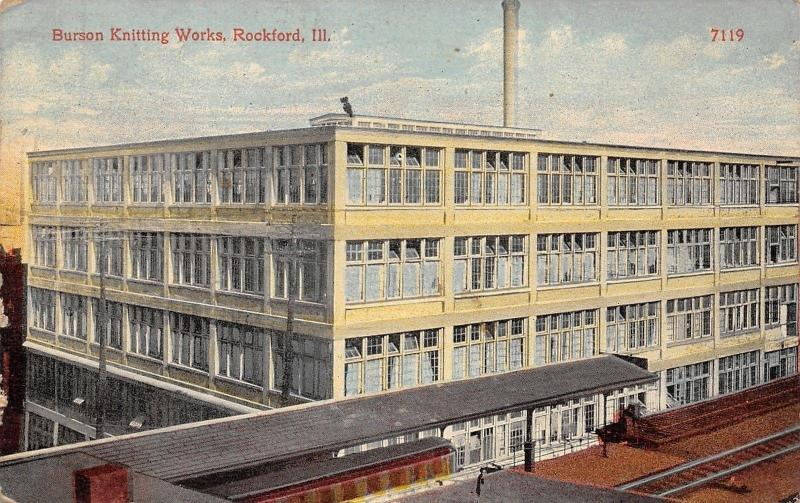 Rockford Illinois~Burson Knitting Works Factory~C&NW RR Terminal~S Main St~1915