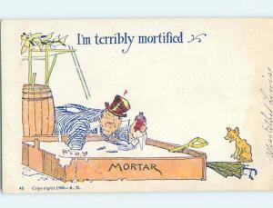 Pre-1907 comic TEMPERANCE - DRUNK MAN FALLS INTO MORTAR CEMENT HL1970