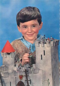 Postcard Easter greetings young boy child castle toys face happy smile sign
