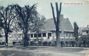 Evanston Illinois~Line of Bushes & Trees Near Evanston Club Bldg~1910 Bluetint