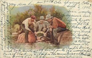 Panning Gold Prospectors Artist Impression c 1898 pm 1905 Colorado Postcard