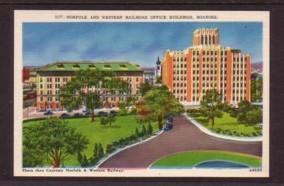 Virginia Post Card N&W RR Building Roanoke