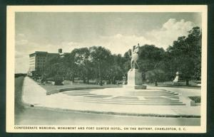 Confederate Memorial Monument Statue Fort Sumter Hotel Battery Charleston SC
