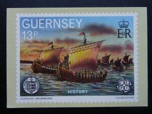 Guernsey HISTORY Artist Gordon Drummond  3-B 1982 Postcard