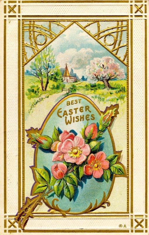 Greeting - Easter. Embossed, Gold Foil