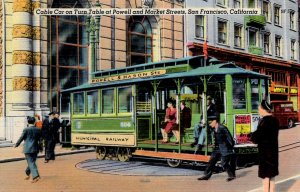 San Francisco, California - Cable Car on TurnTable at Powell & Market Sts. -1949