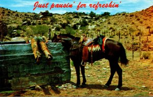 Humour Cowboy and Horse Drinking Water Just Pausin' Fer Refreshin'