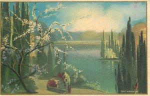 Art signed Postcard picturesque landscape scenery illustration by Ezio Anichini