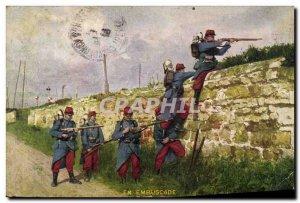 Old Postcard Army in ambush