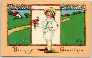 Artist-Signed KATHRYN ELLIOTT Postcard BIRTHDAY Greetings Girl Flowers UNUSED