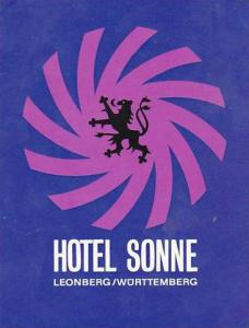 GERMANY LEONBERG WUERTTEMBERG HOTEL SONNE VINTAGE LUGGAGE LABEL