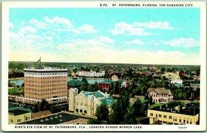 1930s St Petersburg, Florida Postcard Bird's-Eye City View Across Mirror Lake
