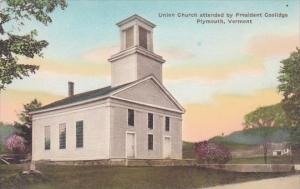 Union Church Attended By President Coolidge Plymouth Vermont Handcolored Albe...