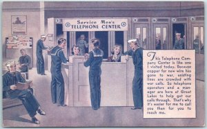 1940s WWII Military Postcard Service Men's TELEPHONE CENTER Bell Telephone Ad