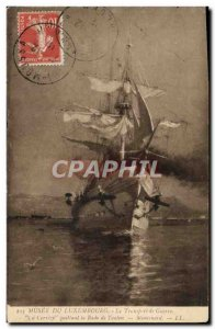 Postcard Old Boat Sailboat Musee du Luxembourg transportation Correze The war...