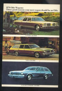 1974 OLDSMOBILE STATION WAGON CAR DEALER ADVERTISING POSTCARD STOUGHTON WIS.