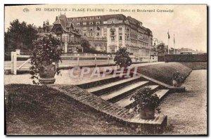 Old Postcard Deauville beach and boulevard Royal fieurie hotel Cornuche