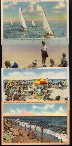 (4) New York LONG BEACH Long Island Swimming Sailing Lolling Fine Time - LINEN