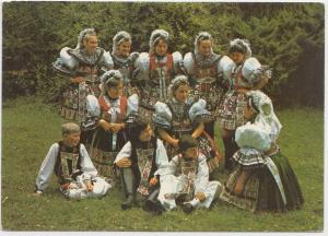 Druzice a chlapci v kyjovskych krojich Kyjov, okres Hodonin, unused Postcard
