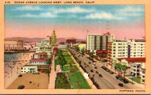 California Long Beach Ocean Avenue Looking West 1950