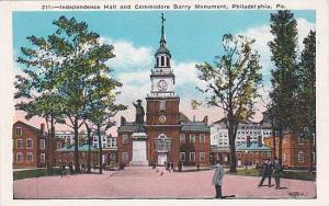 Pennsylvania Philadelphia Independence Hall And Commodore Barry Monument