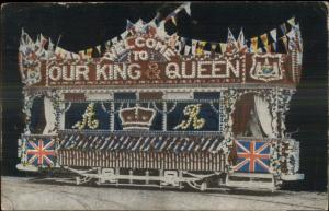 Leeds UK Cancel King & Queen Decorated Welcome Float c1910 Postcard