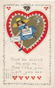 Valentine Greetings Don't be Scared Letter to My Valentine pm 1923 Whitney Made