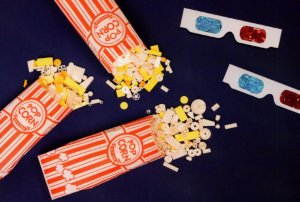 Pop Corn Cinema 3D Glasses Movie Lego Childrens Toy Display Postcard