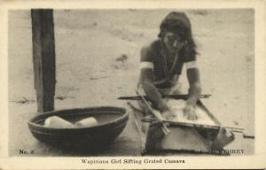 british guiana, Young Native Wapisiana Indian Girl Sifting Grated Cassava 1920s