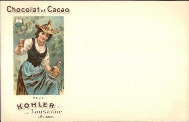 Kohler Chocolat Cacao Swiss Canton Shield Woman c1900 Postcard VAUD myn