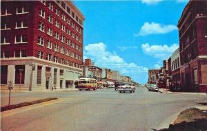 Abilene TX Pine Street Bus Store Fronts Old Cars Postcard